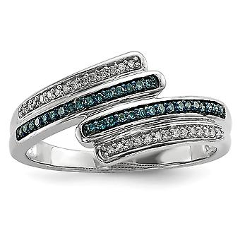 925 Sterling Silver Polished Prong set Open back Blue and White Diamond Ring Jewelry Gifts for Women - Ring Size: 7 to 8