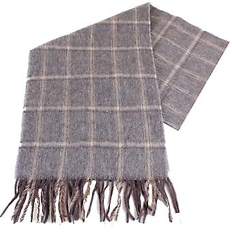 Bassin and Brown Zidane Check Camel Hair Scarf - Beige/Grey