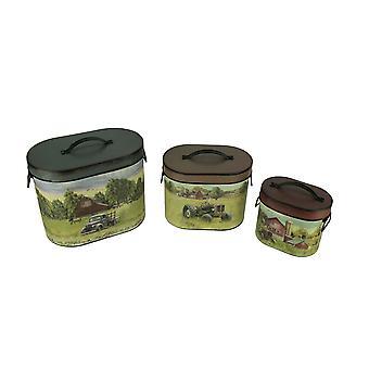 Rustic Farmhouse Scene Decorative Oval Tins Set of 3