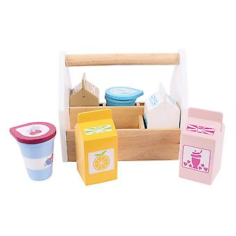 Bigjigs Toys Wooden Play Food Dairy Delivery Pretend Role Play Kitchen
