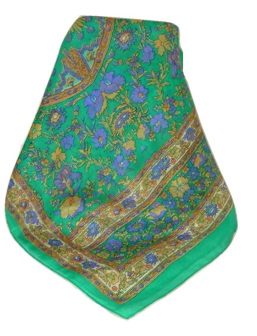 Mulberry Silk Traditional Long Scarf Dhar Emerald by Pashmina & Silk