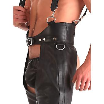 Honour Men's Sexy Trousers Leather Chaps Braces in Black Kinky Outfit