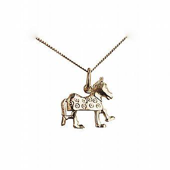 Oro 9ct 13x15mm pantomima cavallo ciondolo con un cordolo catena 20 pollici