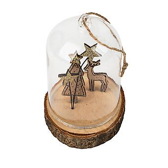 TRIXES Glass Globe Deer Hanging Christmas Decoration