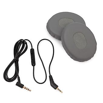 REYTID Replacement Cable and Ear Pad Cushion Kit Compatible with Bose QC3 QuietComfort 3 Headphones - Grey