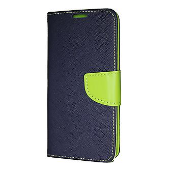 Samsung Galaxy A7 2018 Wallet Case Fancy Case + hand strap dark blue