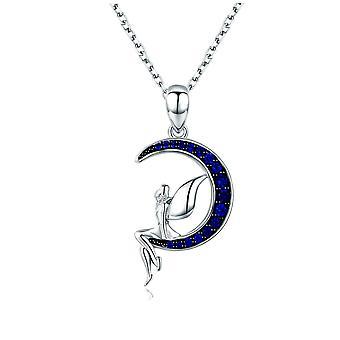 Pendentif Fée et Lune orné de Cristal de Swarovski bleu et Argent 925 8086