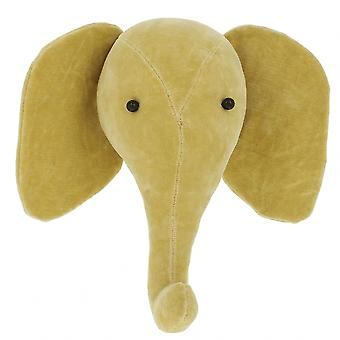 Fiona Walker England Yellow Elephant Mini Velvet Animal Wall Head