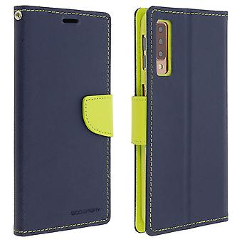 Case for Galaxy A7 2018 Folio Case Cards-Holder Support Function Mercury - Blue