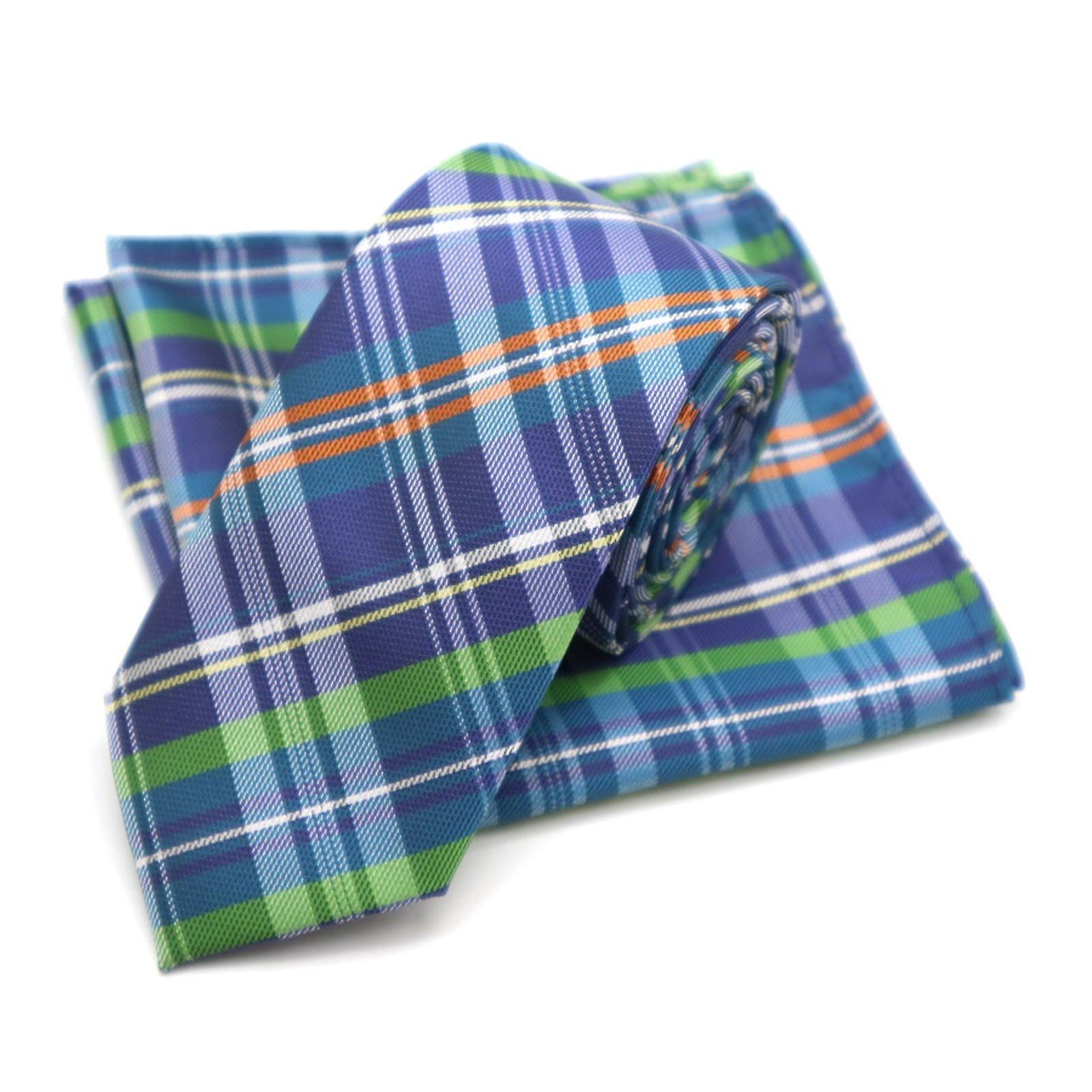Blue orange & green tartan skinny tie & pocket square