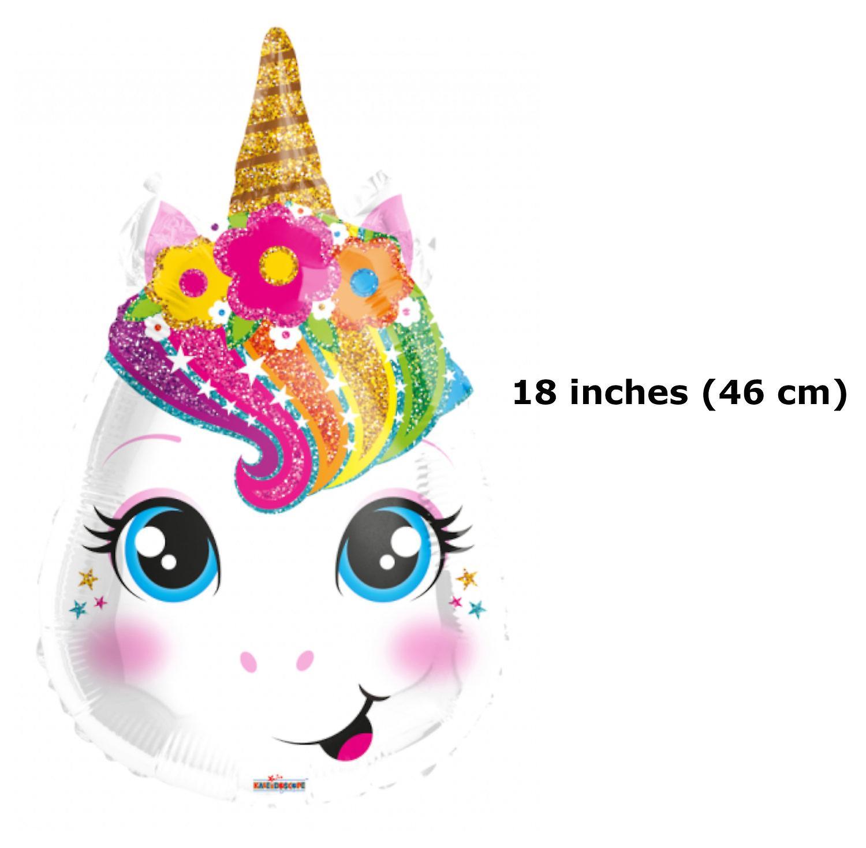 Folieballong Unicorn-ansikte - 46 cm (18