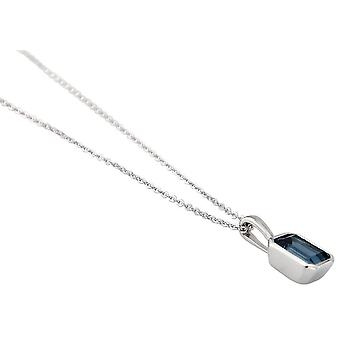Mark Milton Small Octagonal London Topaz Pendant - Dark Blue/Silver