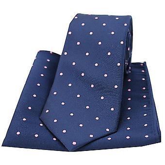 David Van Hagen pequeno ponto gravata e lenço de bolso conjunto - Marinha/Pink