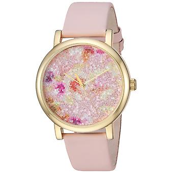 Timex Womens Crystal Bloom Pink/Gold Floral Leather Strap Watch TW2R66300