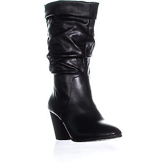Esprit Oliana Folded Top Block Heel Mid Calf Boots, Black
