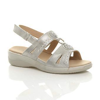 Ajvani ladies lightweight low heel t-bar touch close slingback strap diamante comfort sandals shoes