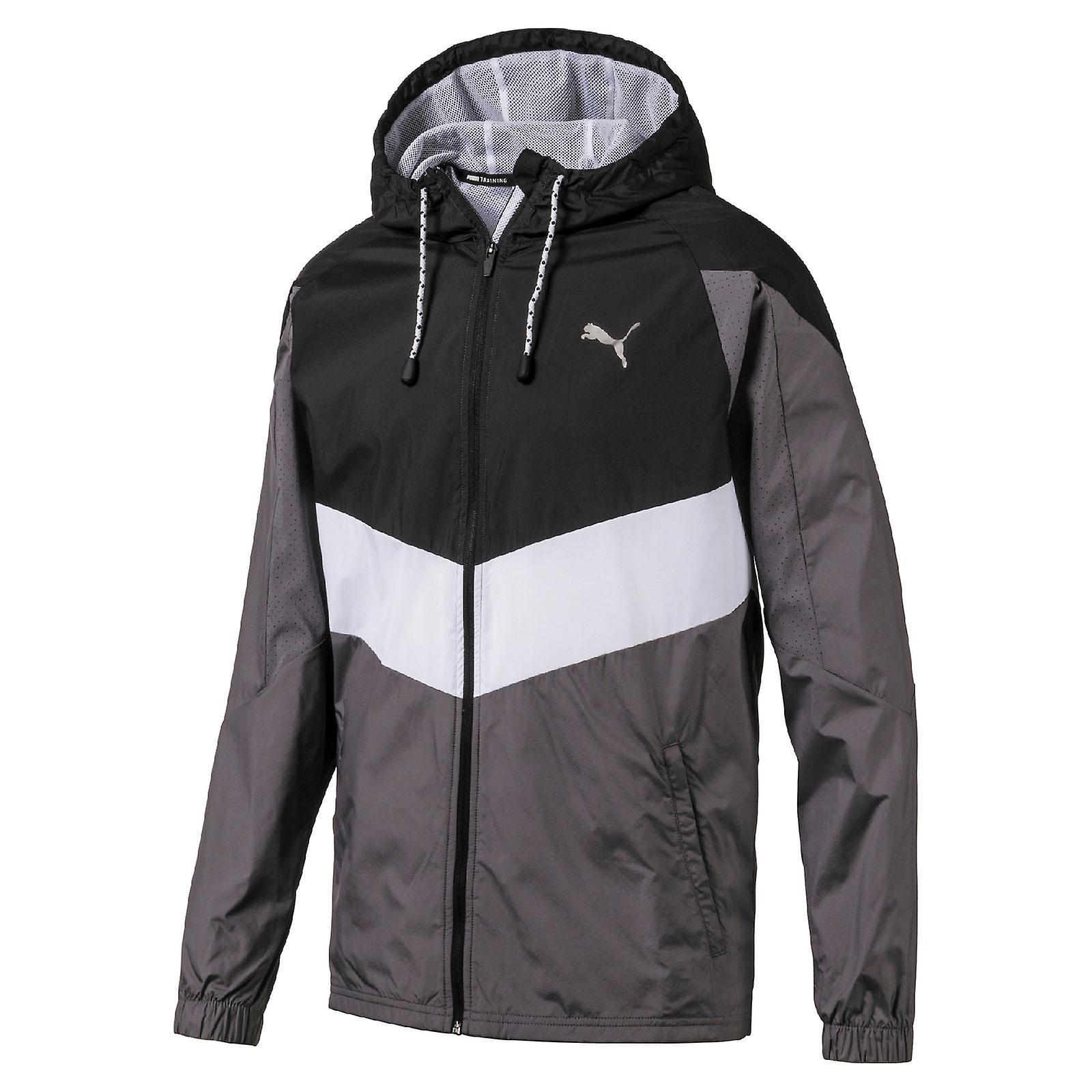 Puma Reactive Woven Mens Running Fitness Training Jacket Black/Grey