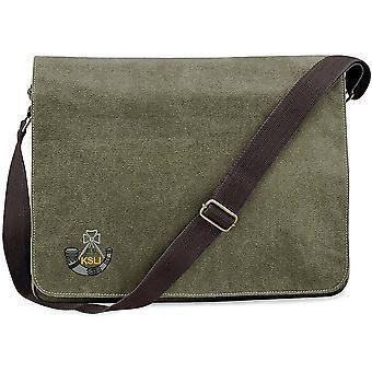 Kings Shropshire ljus infanteri-licensierade brittiska armén broderade Vintage canvas Despatch Messenger Bag