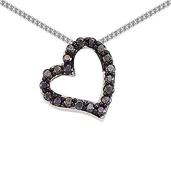 Jewelco London Rhodium Plated Sterling Silver Black Round Brilliant Cubic Zirconia Love Heart Pendant Necklace 18 inch