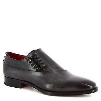 ليوناردو أحذية الرجال & s أحذية مربع ة الصنع في جلد العجل الرمادي ديلاف