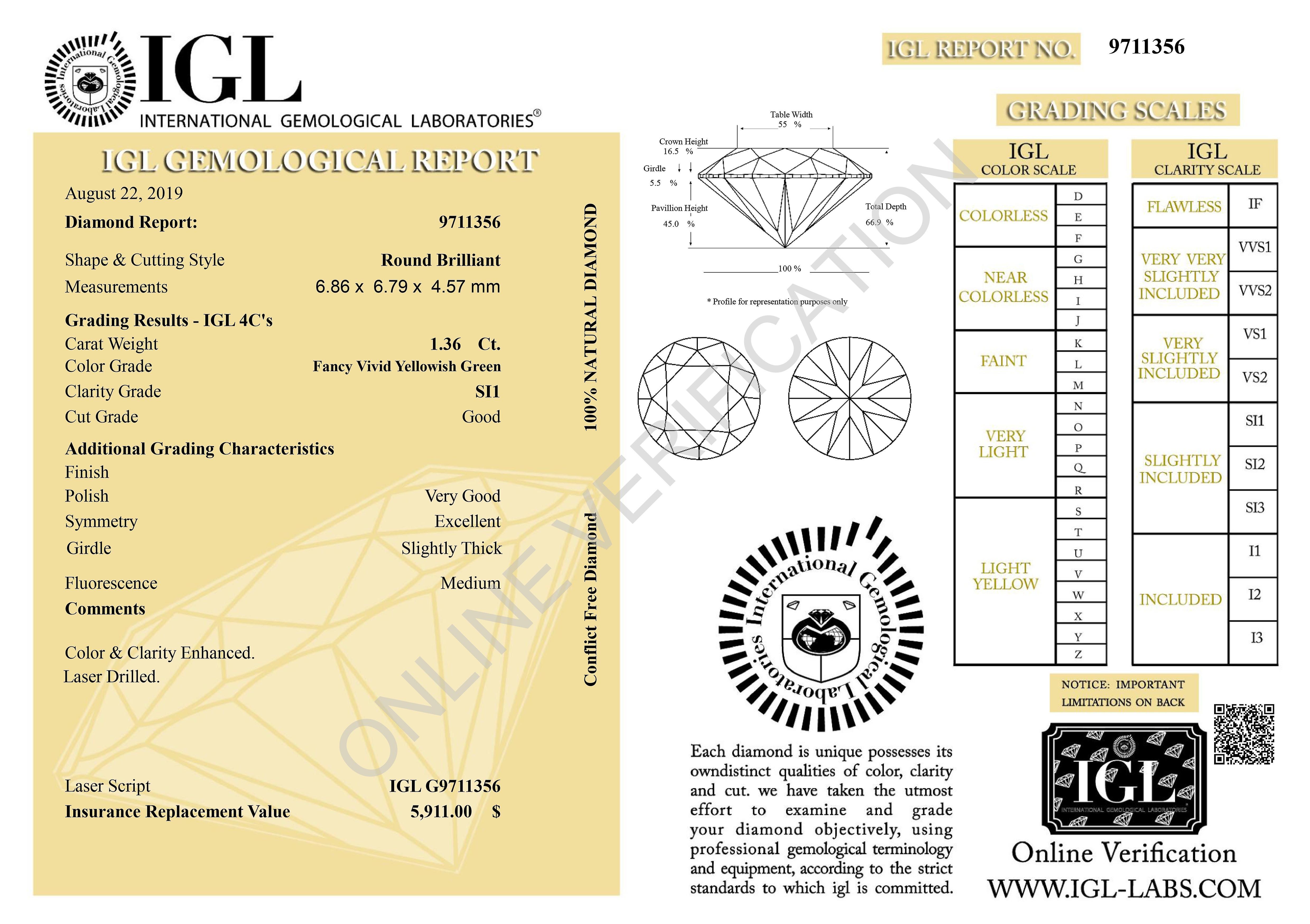Cert 1.36 Carat Yellow Green SI1 Round Brilliant Enhanced Natural Diamond 6.86mm
