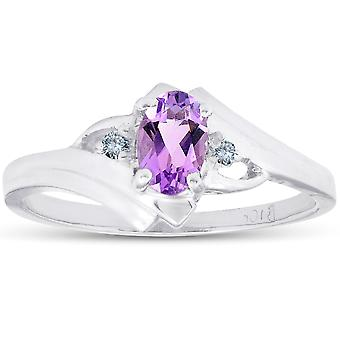 5/8ct Amethyst & Diamond Ring 10K White Gold