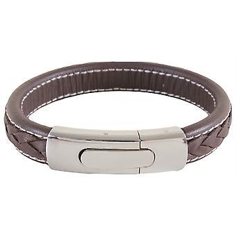 Bracelet David Van Hagen Braid and Stitch - Brown/Silver