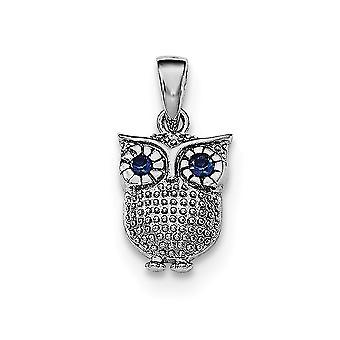 925 Sterling hopea sininen synteettinen safiiri pöllö riipus
