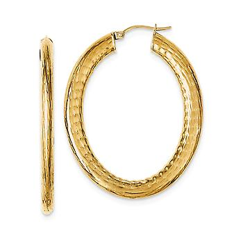 Stainless Steel Polished Yellow Ion plated Textured Hollow Oval Hoop Earrings Measures 49x40mm Wide 4mm Thi Jewelry Gift
