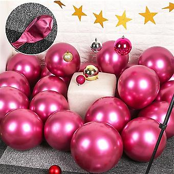 10x Glossy pearl inflatable chrome balloons metallic red