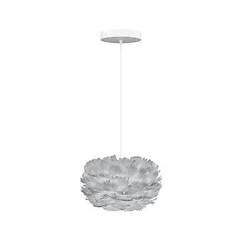 Umage Eos Feather Pendant Shade - Light Grey - Micro - 22cm With Black Rosette Cord Set