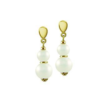 Ewige Sammlung zarte weiße Muschel Perlen Gold Drop Clip auf Ohrringe