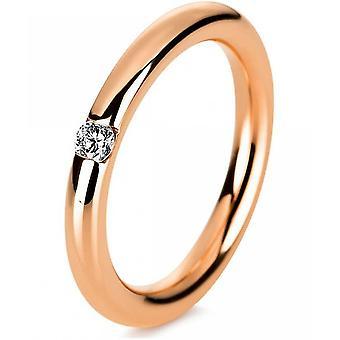 Diamantring ring-14K 585 rødt guld-0,1 CT.