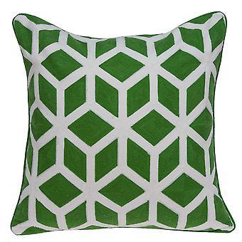 """20"""" x 0.5"""" x 20"""" Cubierta de almohada verde y blanca de transición"""