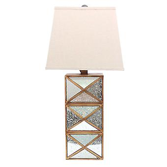 "6,25 ""x 6,75"" x 27,5 ""goud, moderne illusionaire, gespiegelde base-tafel lamp"