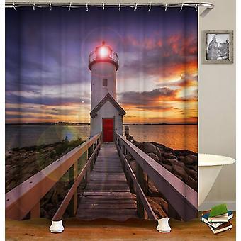 Lighthouse Sunset dusj Curtain