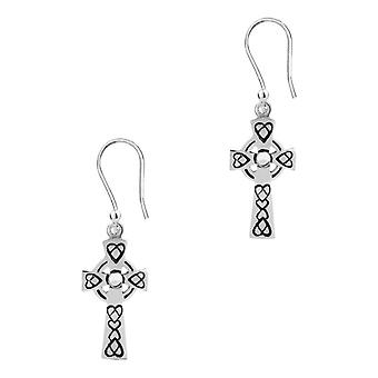 Celtic Knotwork Drop Style Cross Pair Of Earrings