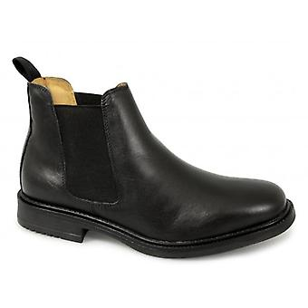 Roamers Archie Mens Twin Gusset Padded Leather Chelsea Boots Black