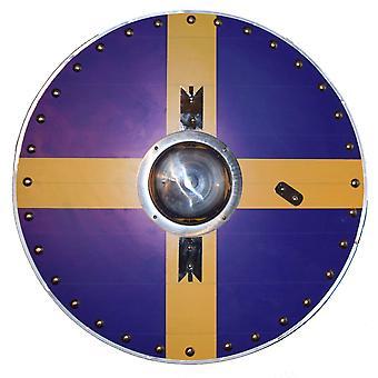 Round wooden handmade leather grip Sweden flag viking shield