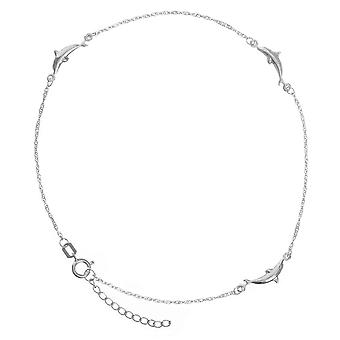 14k White Gold Adjustable Dolphin Station Twist Singapore Chain Ankle Bracelet 10 Inch Jewelry Gifts for Women