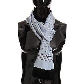 Dolce & Gabbana Blue Silk Polka Dot Scarf