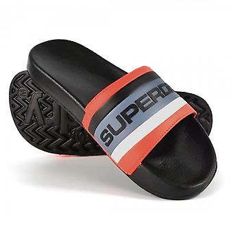Superdry Retro Colour Block Sliders Khaki Black/Hazard Orange V4B