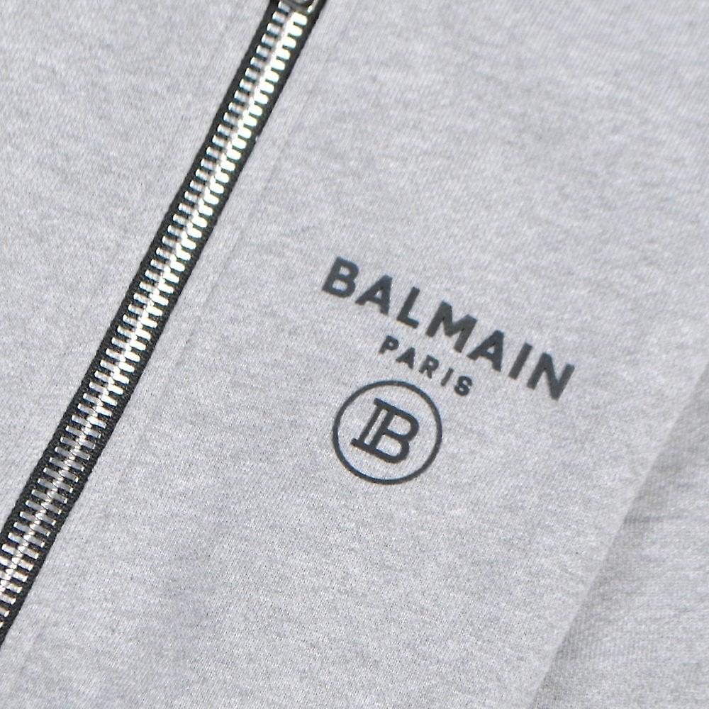 Balmain Kids Logo Print Zipped Hoodie