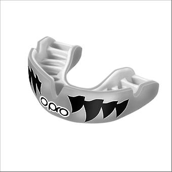 Opro power fit aggression jaws mouthguard silver/white