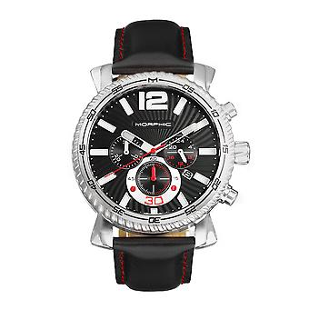 Morphic M89-serie Chronograph Leather-Band Watch w/Date - Zwart
