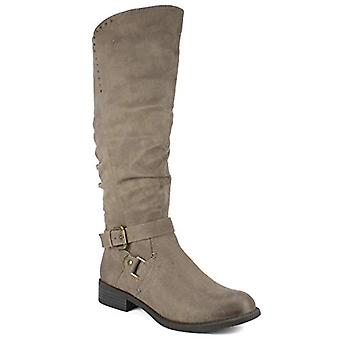 WHITE MOUNTAIN Shoes Liona Women's Wide Calf Boot, DK.Taupe/Fabric, 7