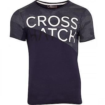 Hachura Mens curto manga gola T camisa logotipo gráfico algodão moda Tee