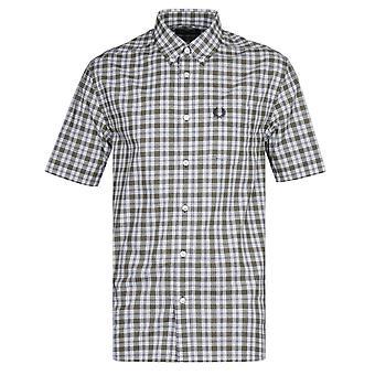 Fred Perry lille check blå og grå skjorte