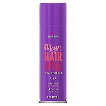 Aussie mega hold hairspray with jojoba & sea kelp, 14 oz