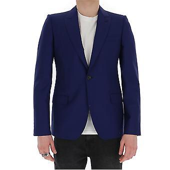 Alexander Mcqueen 603522qou124110 Men's Blue Wool Blazer